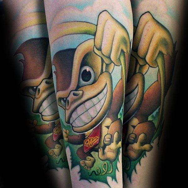 Attractive Donkey Kong Tattoo On Arm for ladies