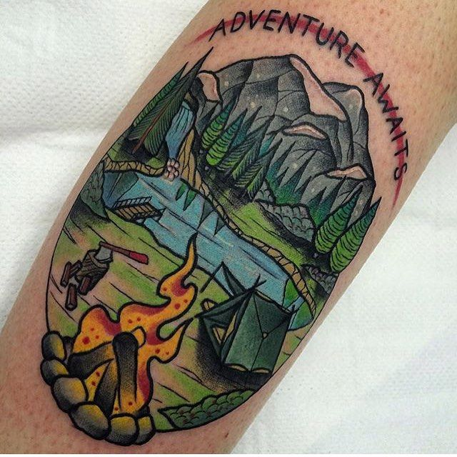 Awesome Camping Tattoos On leg for Womens