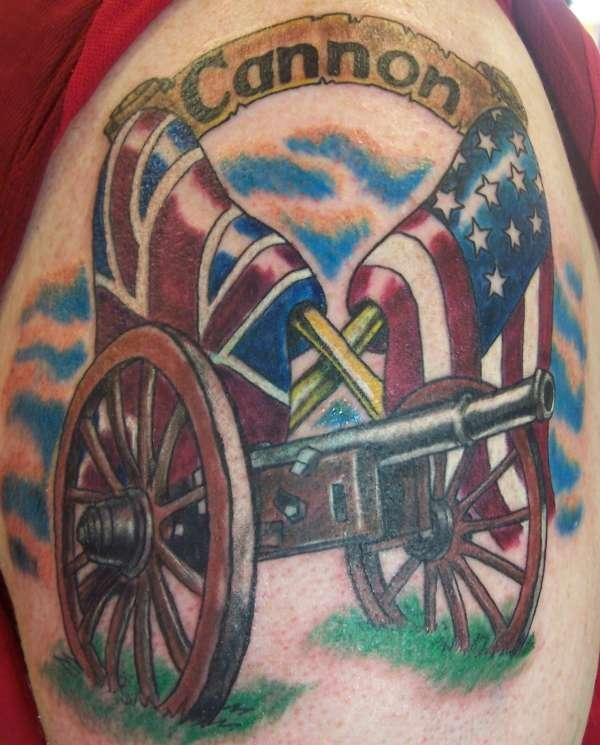 Awesome Cannon Tattoos On Shoulder for boys