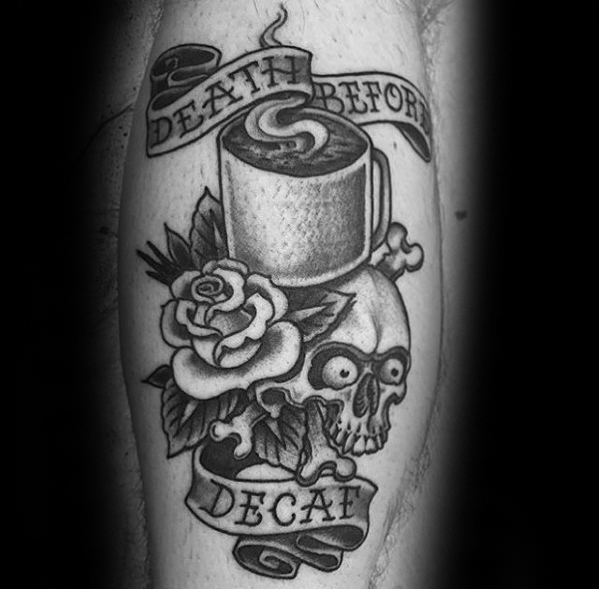 Awesome Coffee Tattoo On leg for Guys