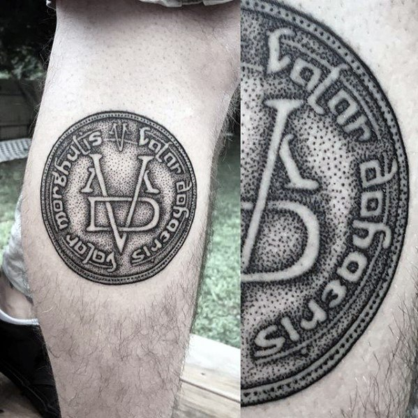 Awesome Game Of Thrones Tattoo On leg for boy