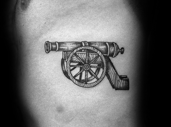 Beautiful Cannon Tattoo On Rib For mens
