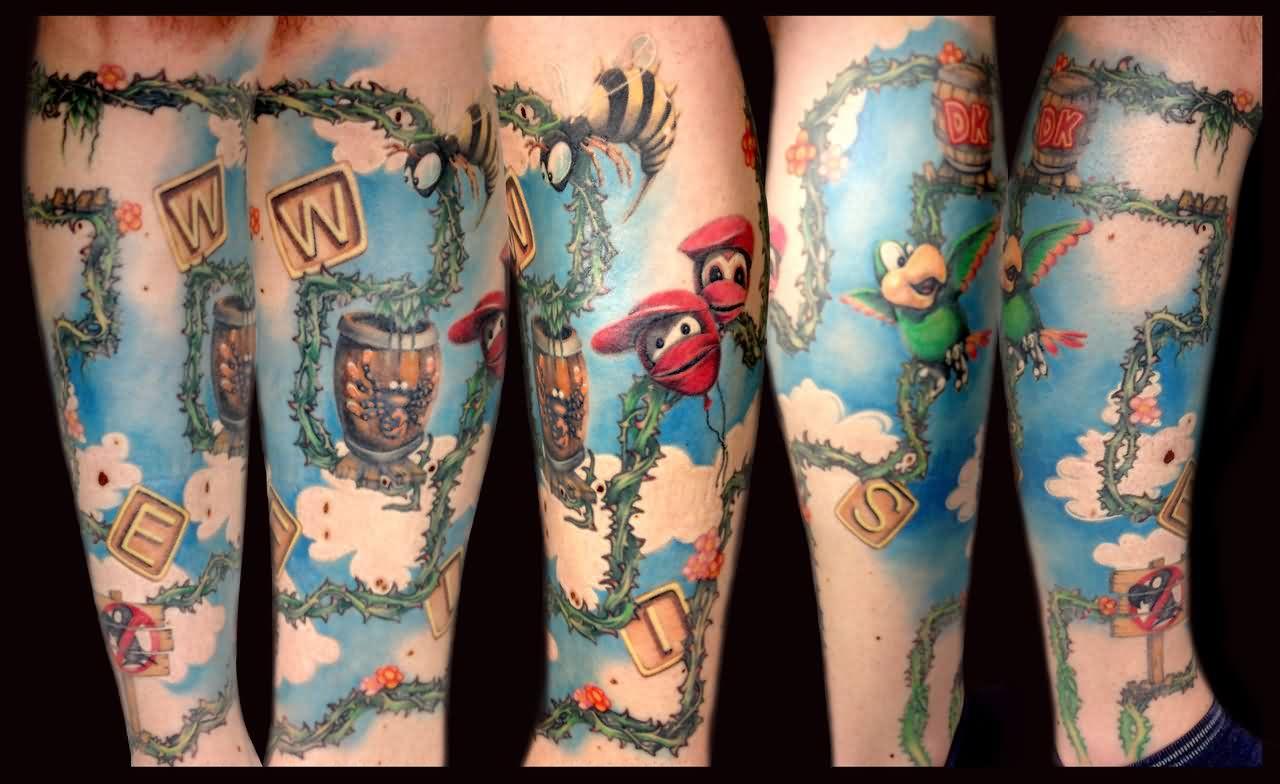 Beautiful Donkey Kong Tattoo On Arm for Women