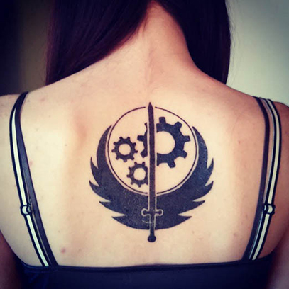 Beautiful Fallout Tattoo On Back for Ladies