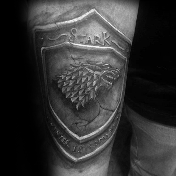 Beautiful Game Of Thrones Tattoo On thigh for tattoo fan