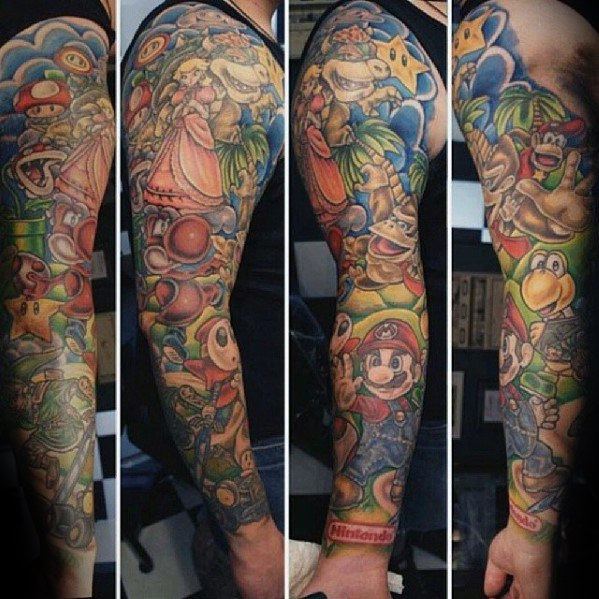 Best Ever Donkey Kong Tattoo On Full arm for Tattoo fan