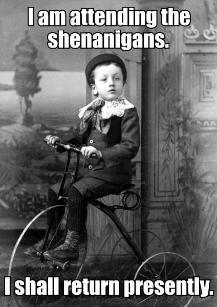 Bike Meme i am attending the shenanigans i shall return presently