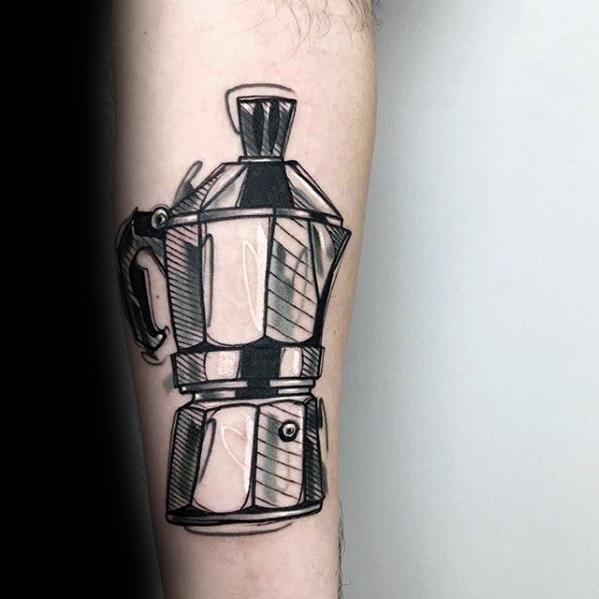 Brilliant Coffee Tattoo On Arm for men