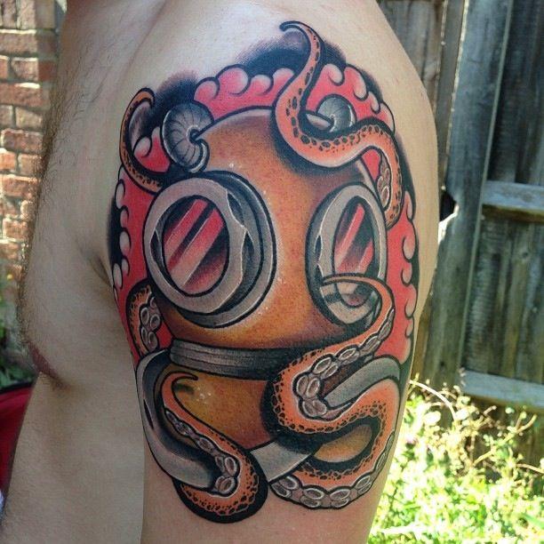 Cool Diving Helmet Tattoo for Guy's shoulder