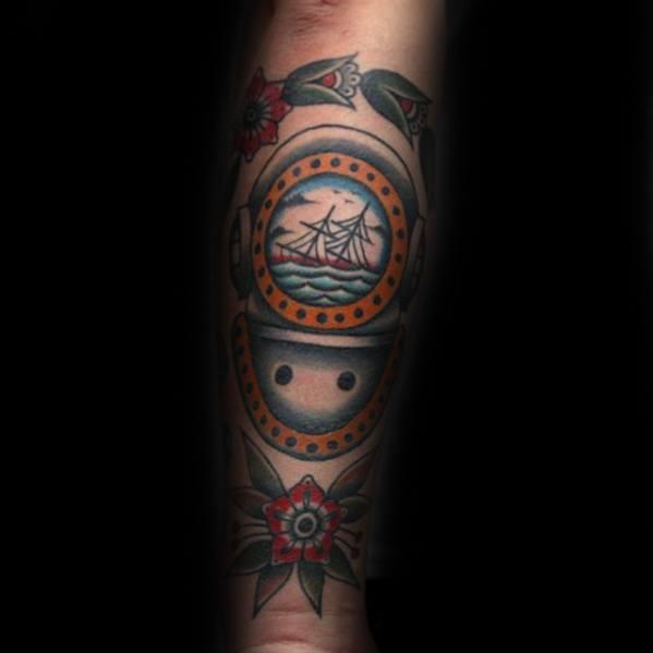 Coolest Diving Helmet Tattoos On arm