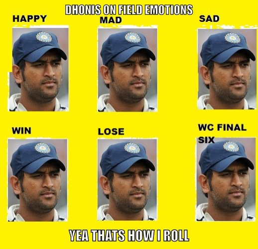 Cricket Memes Dhonis on field emotions happy mad sad win lose