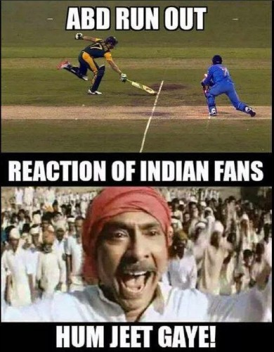 Cricket Memes abd run out reaction of Indian fans