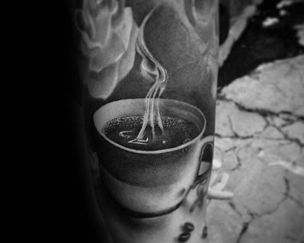 Custom Coffee Tattoo On leg for Girl