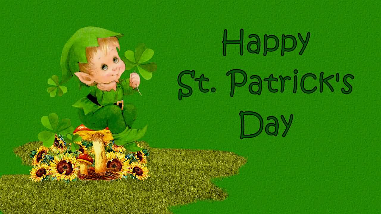 Cute Kid Wishes Happy St. Patrick's Day Image