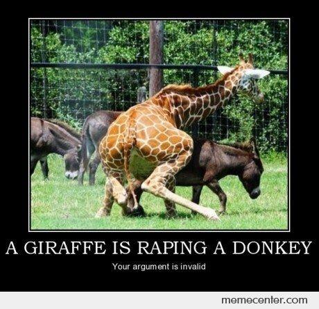 Donkey Meme a giraffe is raping a donkey