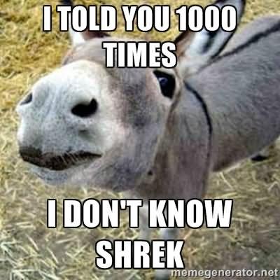 Donkey Meme i told you 1000 times i don't know shrex