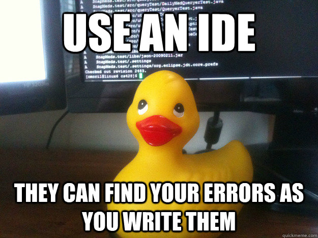 Duck Memes use an ide they can find your errors as