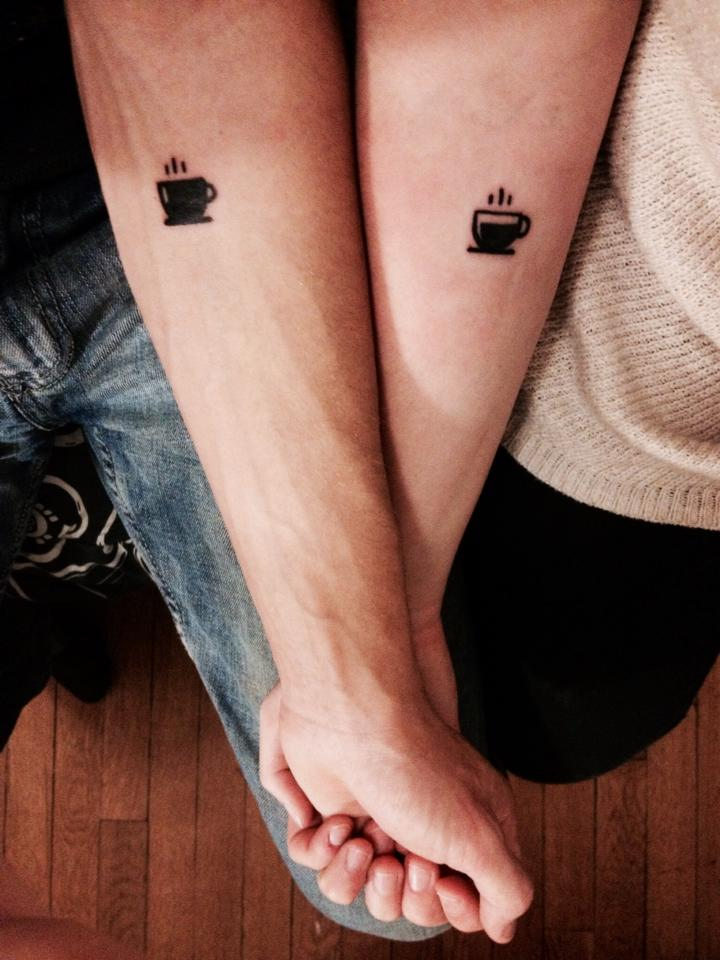 Extremely Coffee Tattoo On Arm for couple