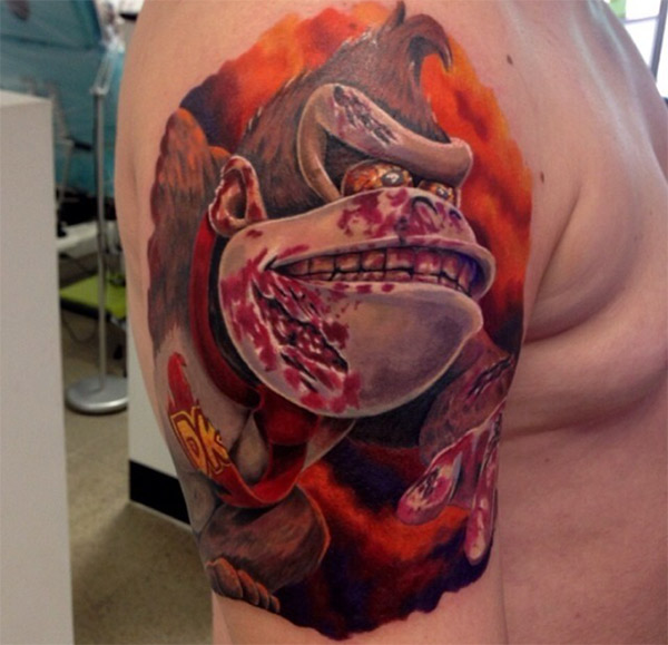 Extremely Donkey Kong Tattoo On Shoulder for men