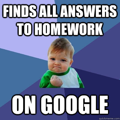 Finds all answers to homework on google Math Meme