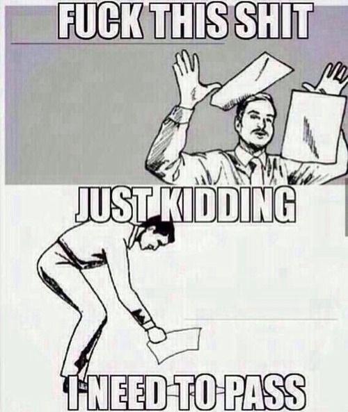Fuck this shit just kidding Homework Meme