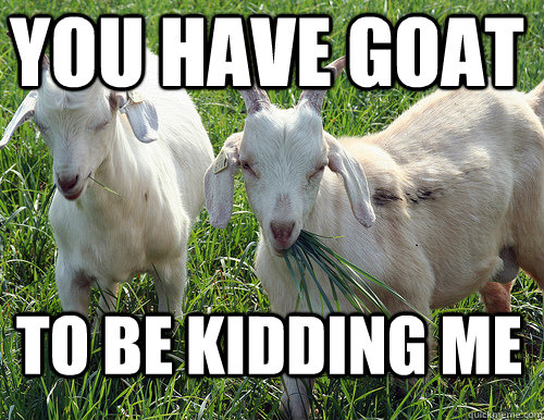 Goat Meme You have goat to be kidding me