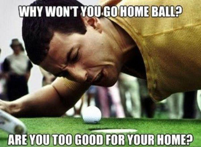 Golf Meme Why wont' you go home ball