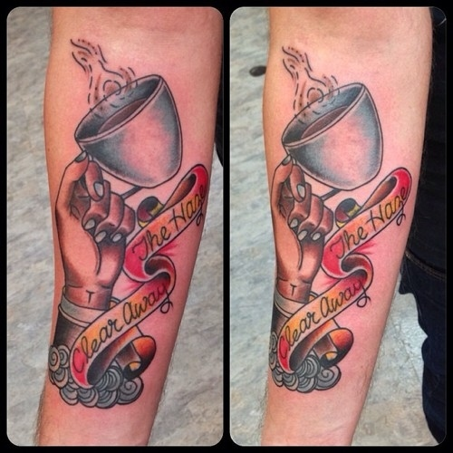 Great Coffee Tattoo On Arm for For Boys
