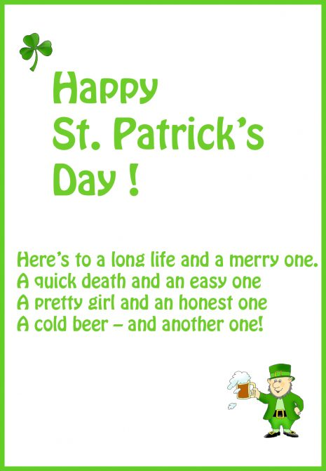 Happy St. Patrick's Day Here's To A Long Life And A Merry One Wishes Quotes Image