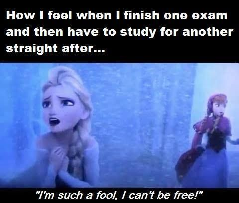 How i feel when i finish one exam and then have to study for another Exam Meme