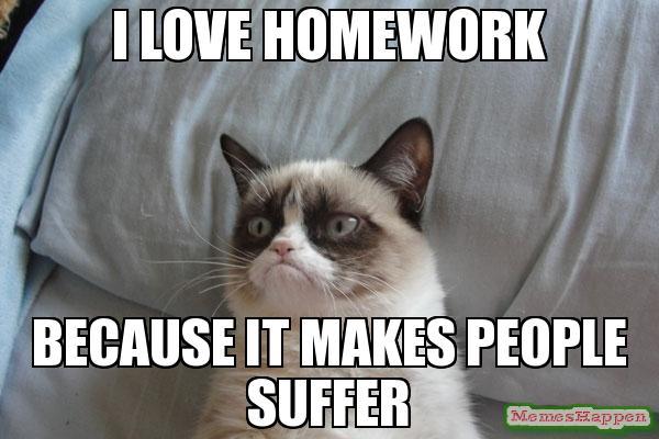 I love homework because it makes Homework Meme
