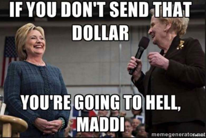 If you don't send that dollar you're going to hell maddi ...