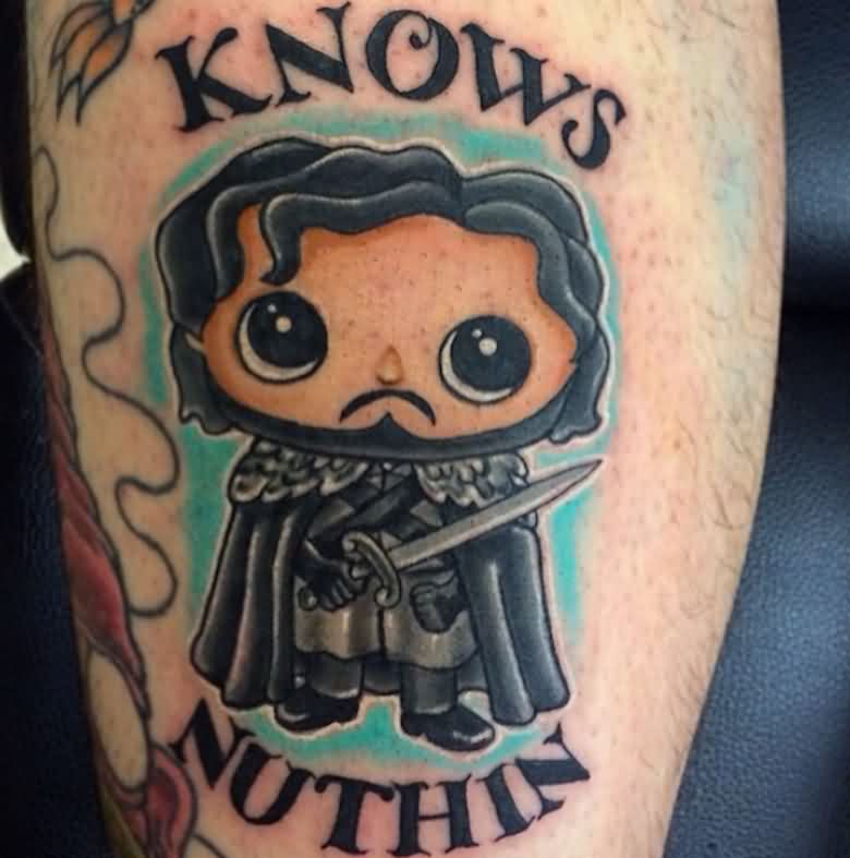 Incredible Game Of Thrones Tattoo On leg