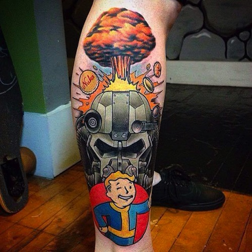 Innovative Fallout Tattoo For Men's arm