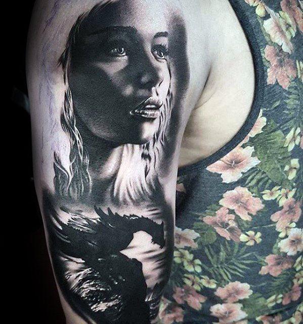 Innovative Game Of Thrones Tattoo oN shoulder for men