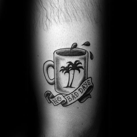 Latest Coffee Tattoo On leg