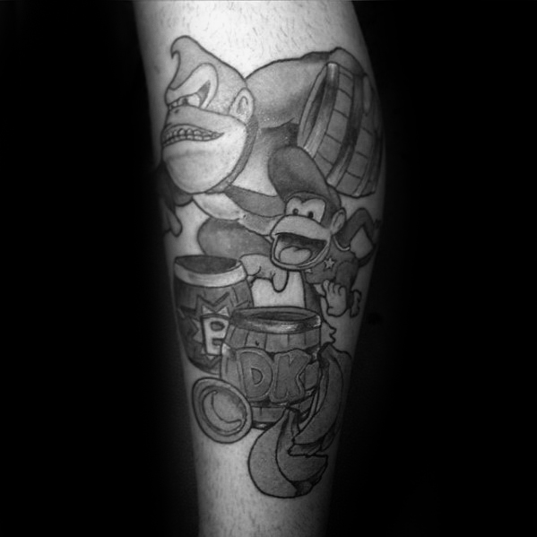 Latest Donkey Kong Tattoo On Arm for men
