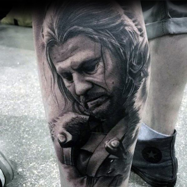 Latest Game Of Thrones Tattoo On leg for boy