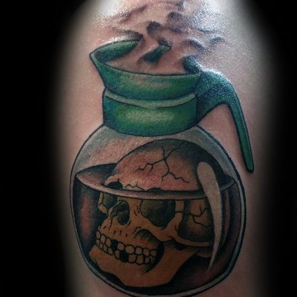 Lovely Coffee Tattoo On Arm for Guys