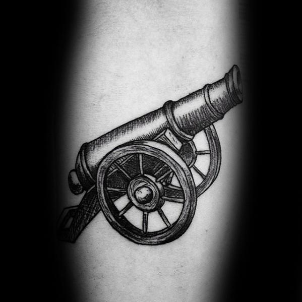 Marvelous Cannon Tattoo On Leg for Girls