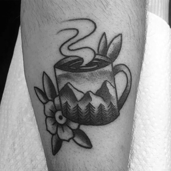 Marvelous Coffee Cup Tattoo On Arm for Guys