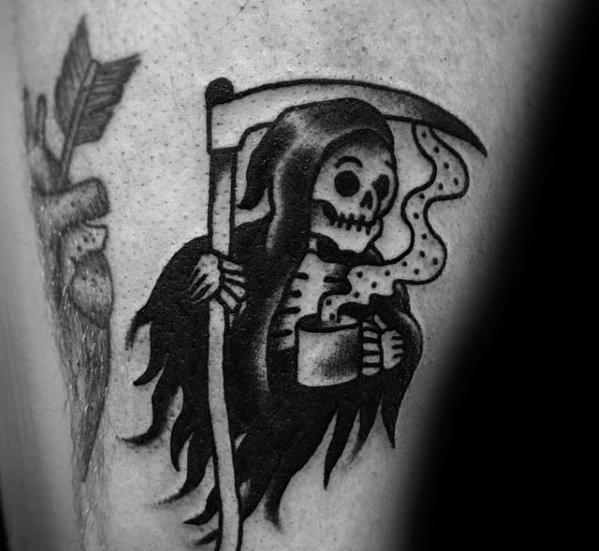 Marvelous Coffee Tattoo On leg for men