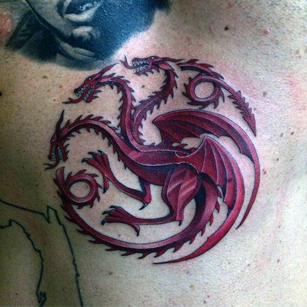 Marvelous Game Of Thrones Tattoo On chest for men