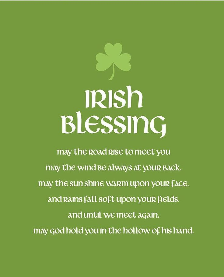 May God Hold You In The Hollow Of His Hand St. Patrick's Day Irish Blessing