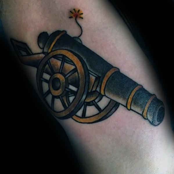 Popular Cannon Tattoo On Arm for mens