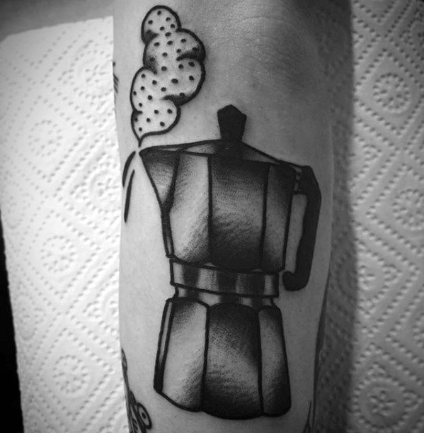 Realistic Coffee Tattoo On Arm for men