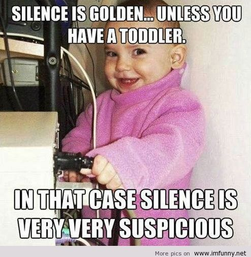 Silence is golden unless you have a toddler in that case Computer Memes