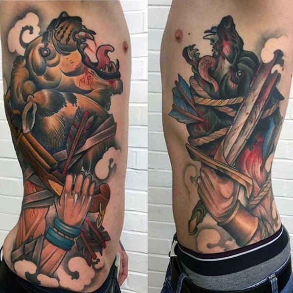 Terrific Game Of Thrones Tattoo oN rib for boy