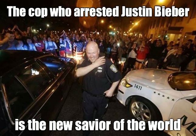 The cop who arrested justin bieber is the new savior of the world Cop Meme