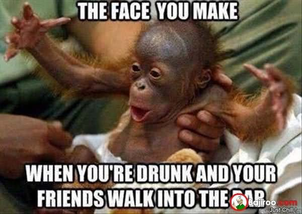 The face you make when you're drunk and your friends walk into the Monkey Meme